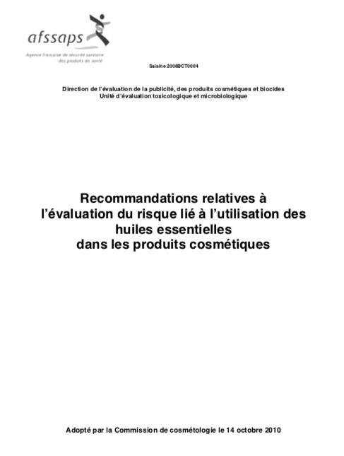 ansm - risque evaluation huile essentielles